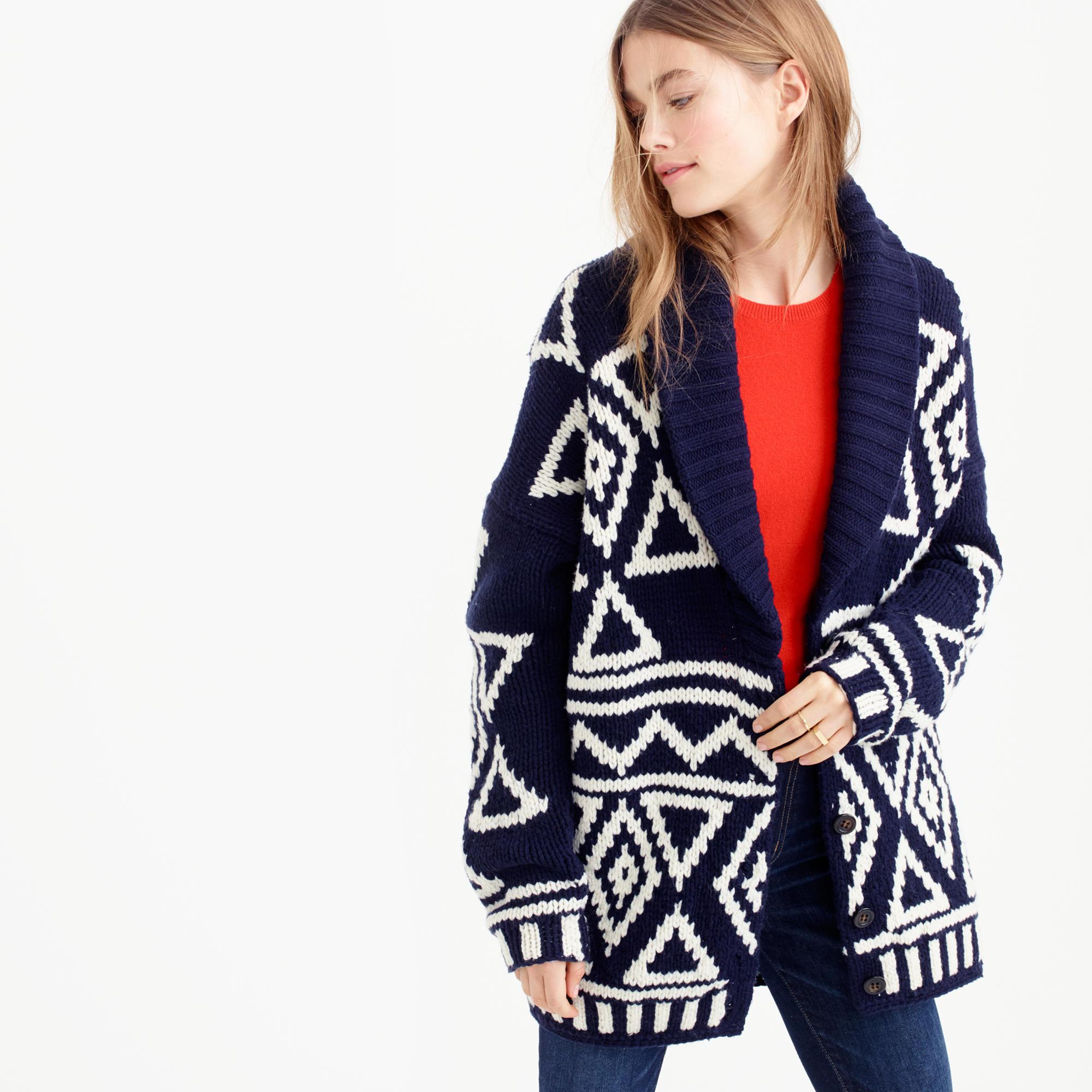 J.crew Collection Fair Isle Cardigan Sweater In Lambswool in Blue ...