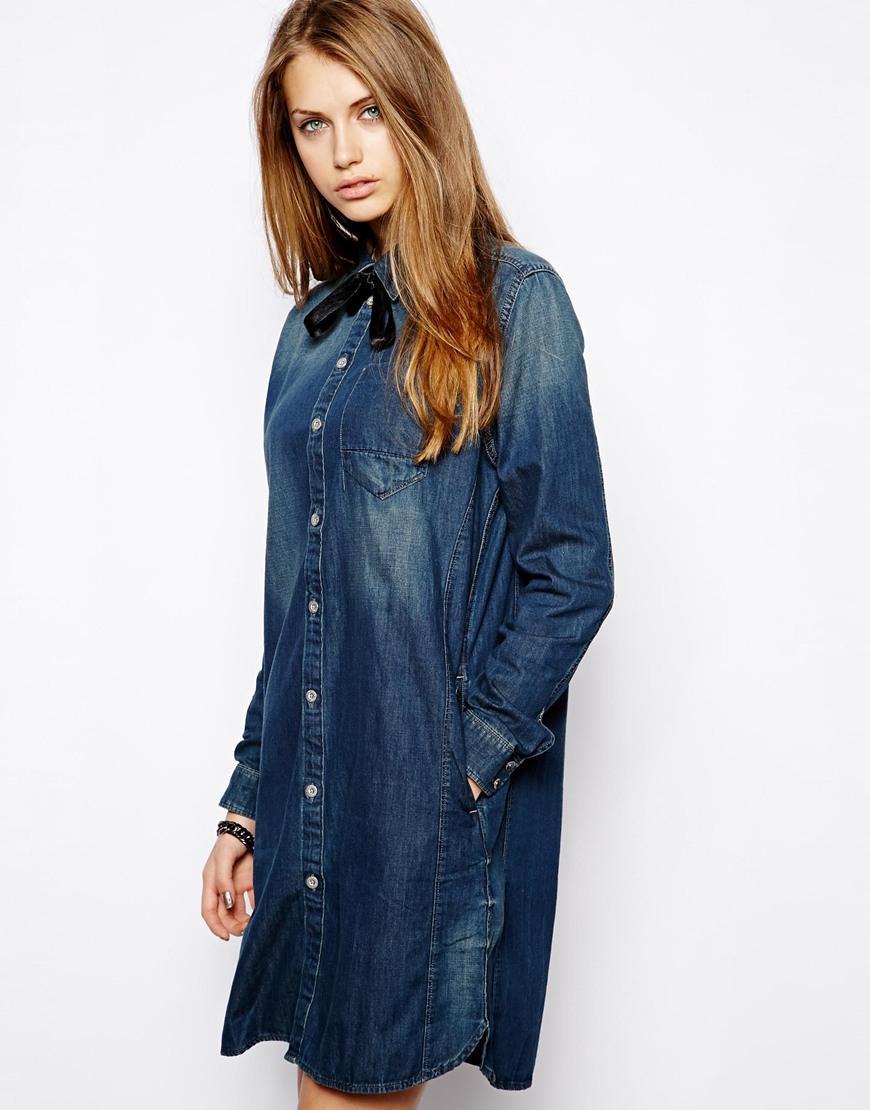 G-star raw Denim Shirt Dress in Blue  Lyst