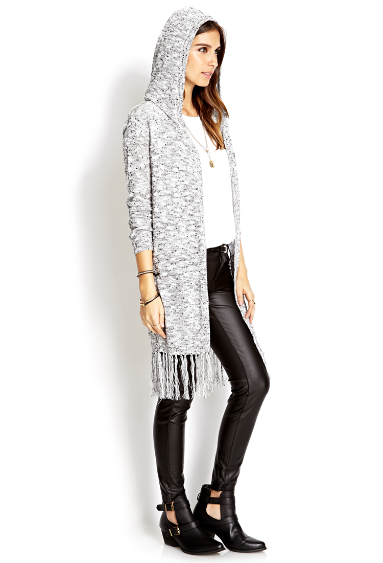 Forever 21 Fireside Fringe Hooded Cardigan in Gray | Lyst