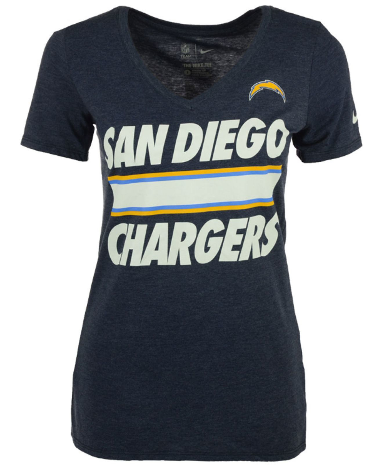San Diego Chargers Clothing: Nike Women's San Diego Chargers Team Stripe T-shirt In