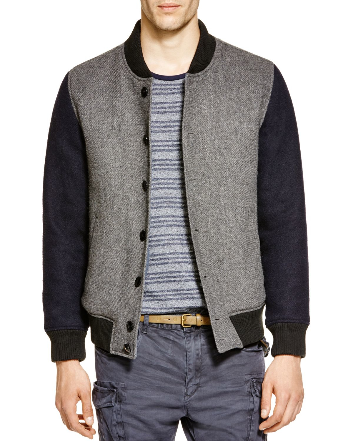Scotch &amp soda Wool Bomber Jacket in Gray for Men | Lyst