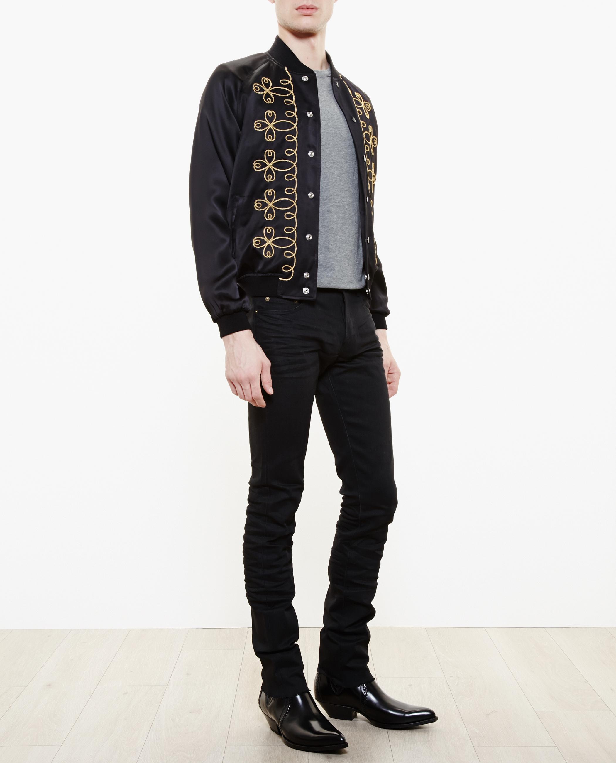 Lyst Saint Laurent Satin Bomber Jacket In Black