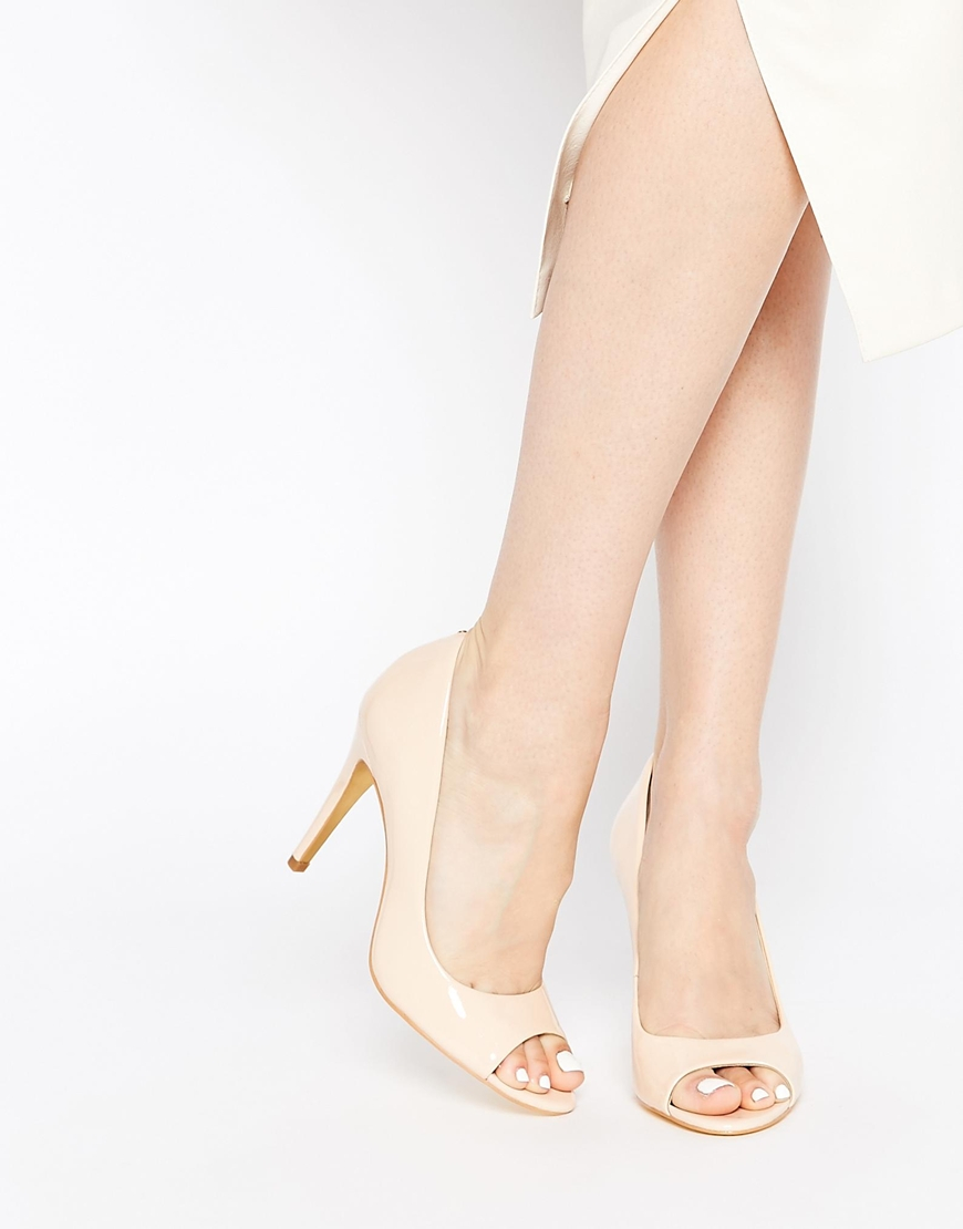 ee1e660212 Ted Baker Ilyey Nude Patent Peep Toe Heeled Pumps in Natural - Lyst