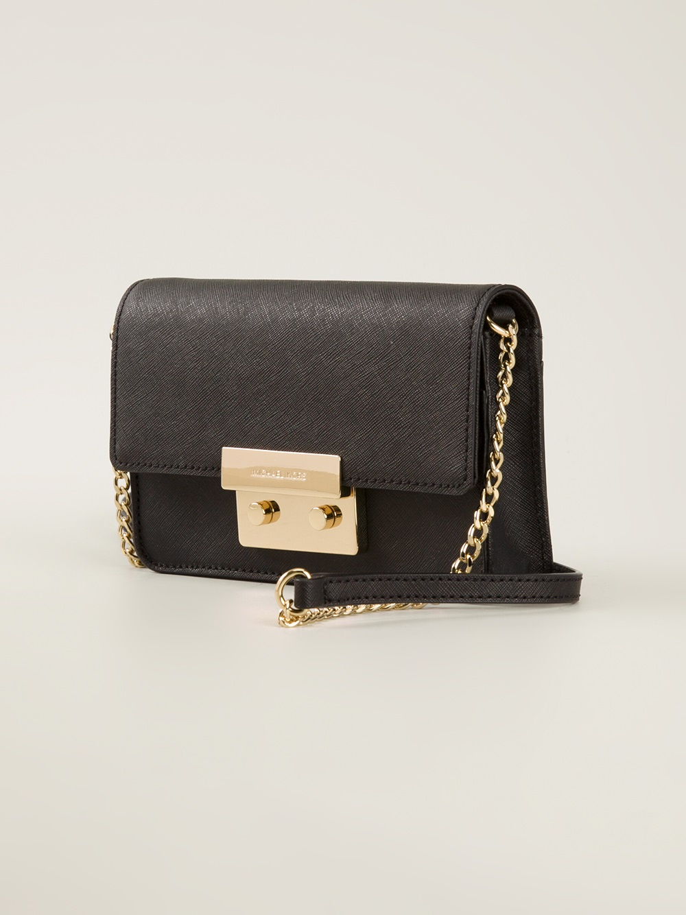 69a9475a7b6d ... coupon for lyst michael michael kors gold buckle cross body bag in  black 6c12f 0210e