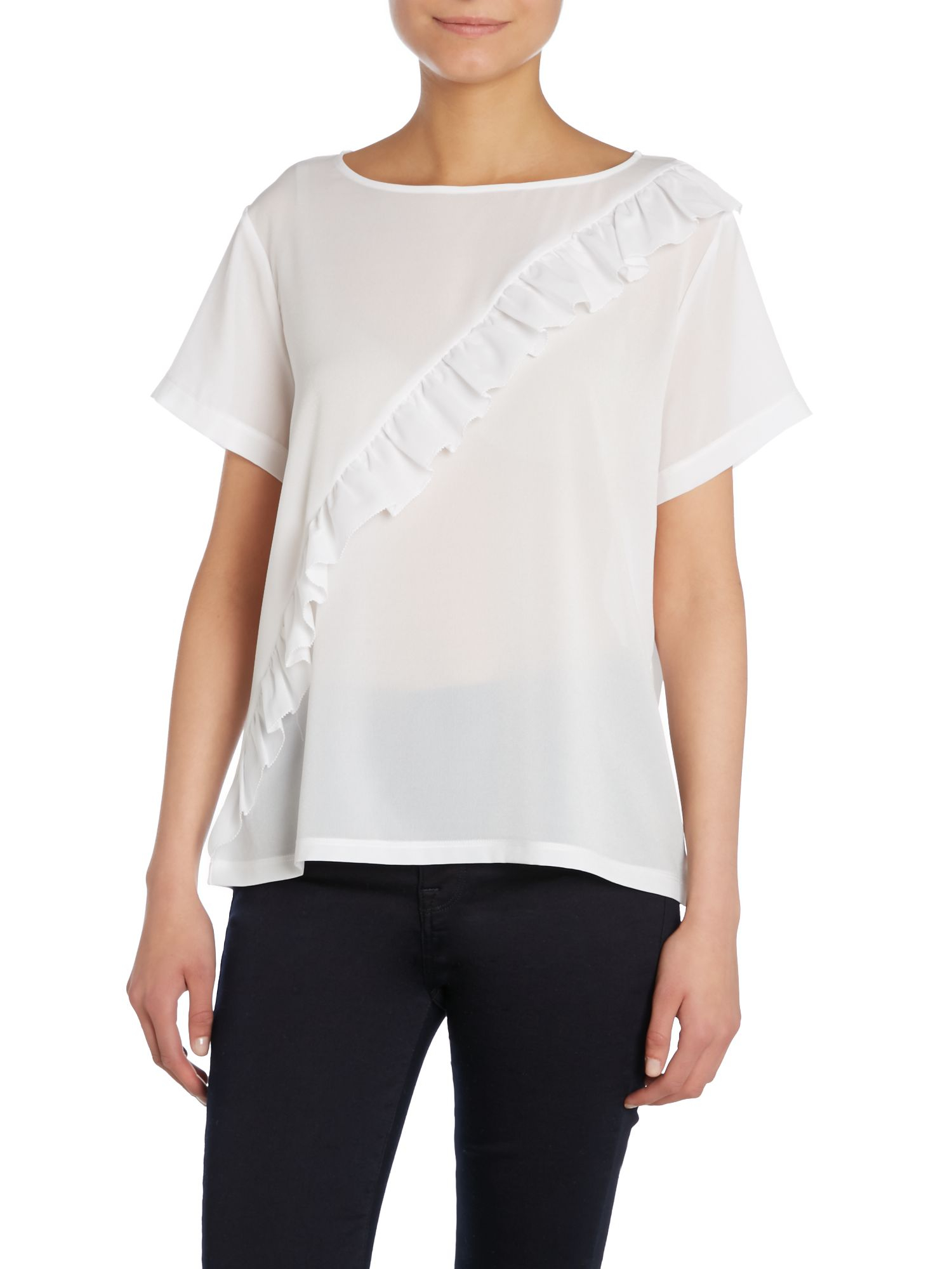 French Connection Polly Plains Frill Front T Shirt In Blue