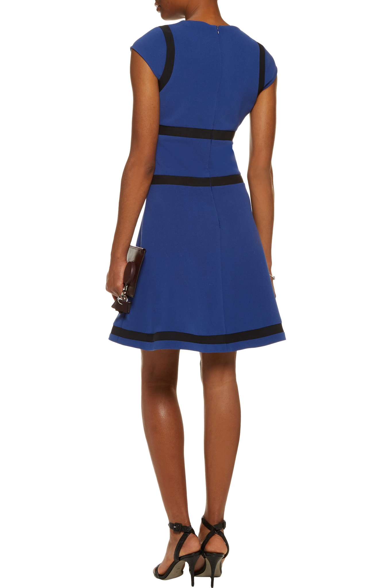Lyst Karl Lagerfeld Mesh Paneled Crepe Dress In Blue