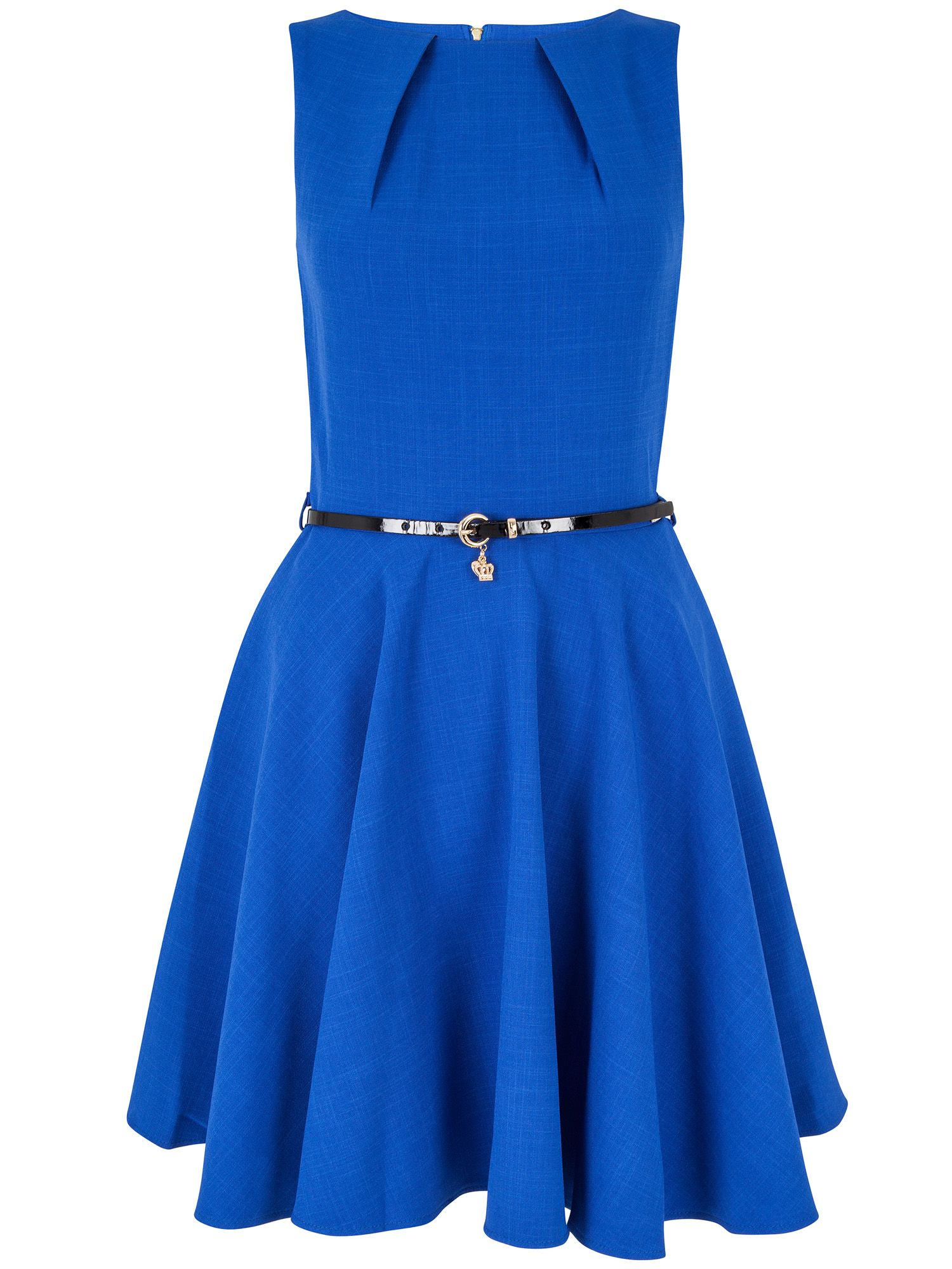 closet blue flared belted dress lyst