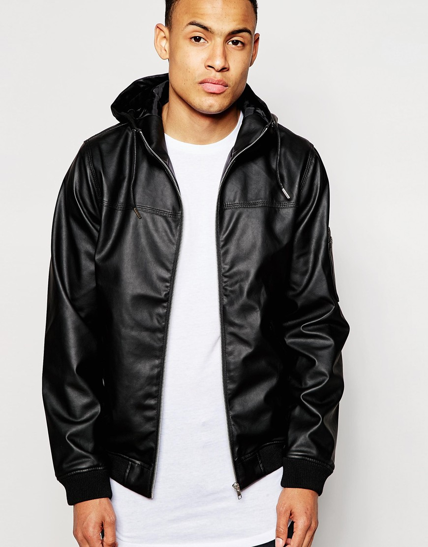 D-struct Beven Faux Leather Hooded Bomber Jacket in Black for Men ...