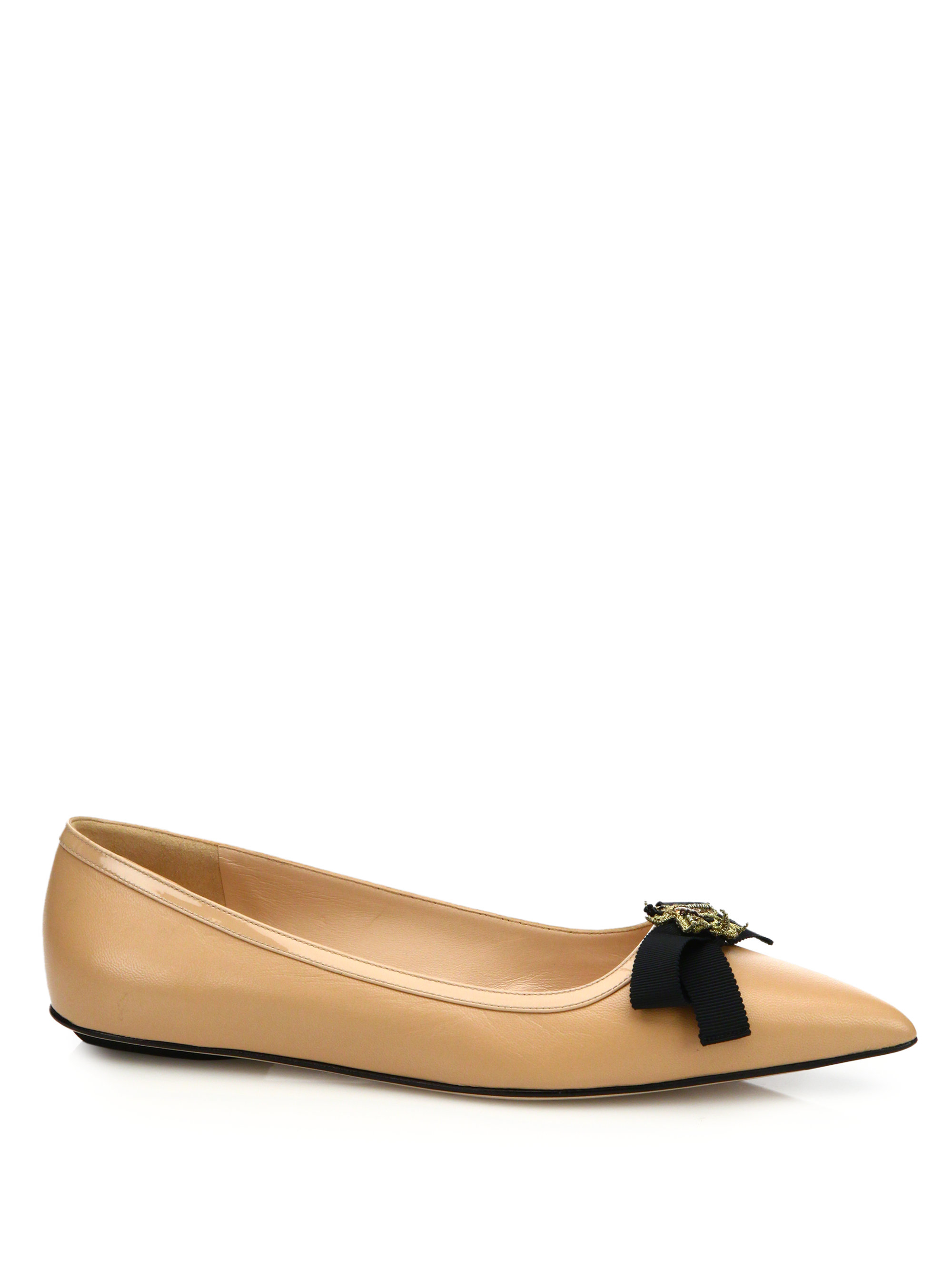 234dce336bd5d1 Lyst - Gucci Moody Leather Ballet Flats in Natural