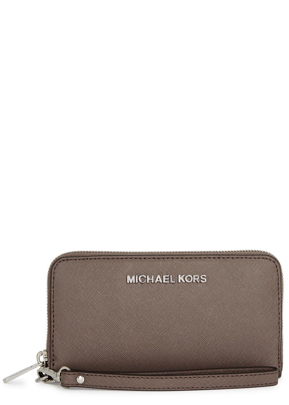 7274be05ed4e Michael Kors Jet Set Travel Mushroom Saffiano Leather Wallet in Gray ...