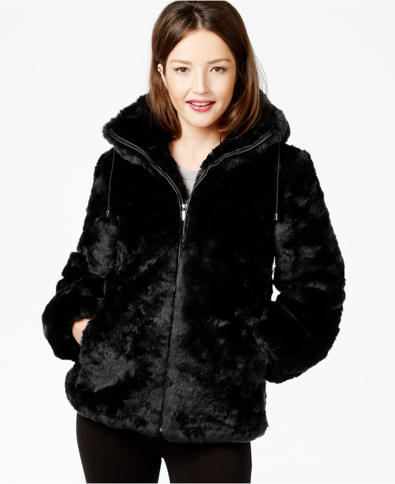 Faux Fur Coat With Hood Black - Tradingbasis