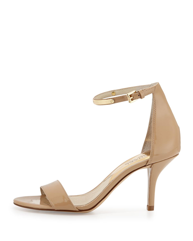 76e1dc79be37 Lyst - MICHAEL Michael Kors Kristen Mid-Heel Patent Sandal in Natural