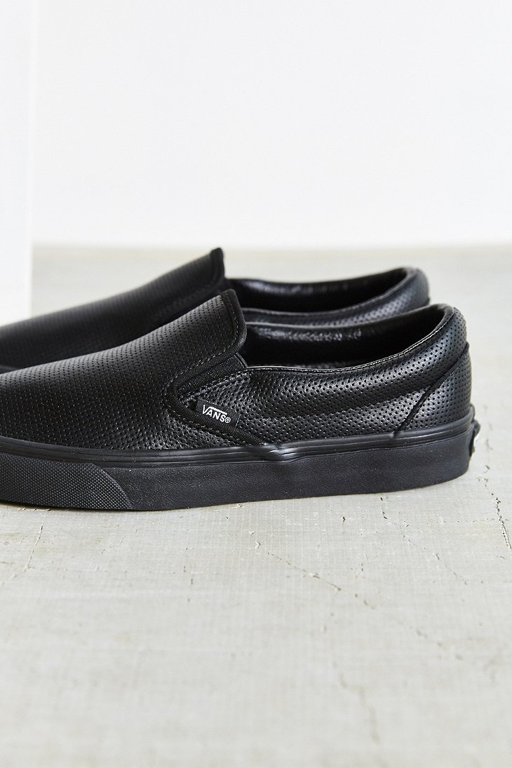 a575b197de4 Lyst - Vans Perforated Leather Classic Slip-on Shoe in Black