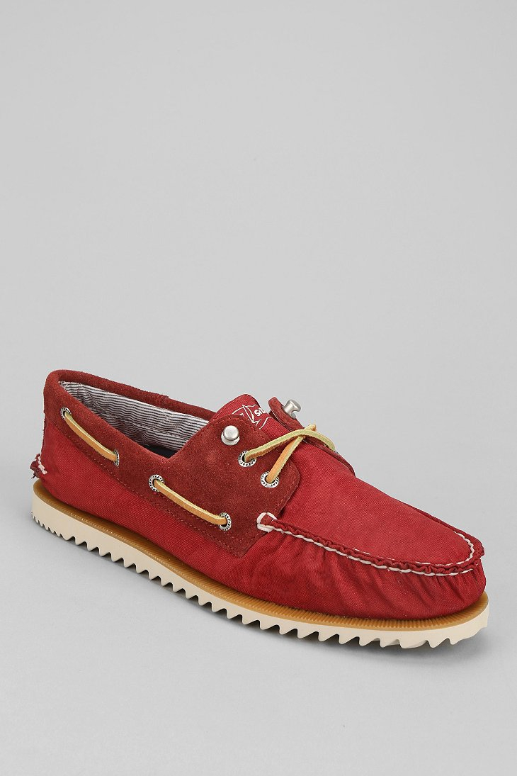 Sperry top sider topsider razorfish boat shoe in red for for Best boat shoes for fishing