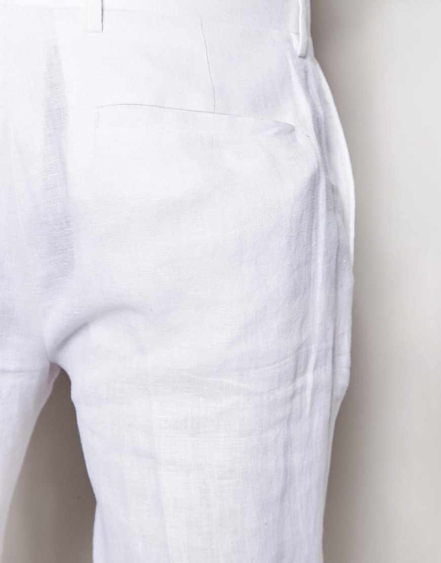 Asos Slim Fit Suit Pants In 100% Linen in White for Men   Lyst