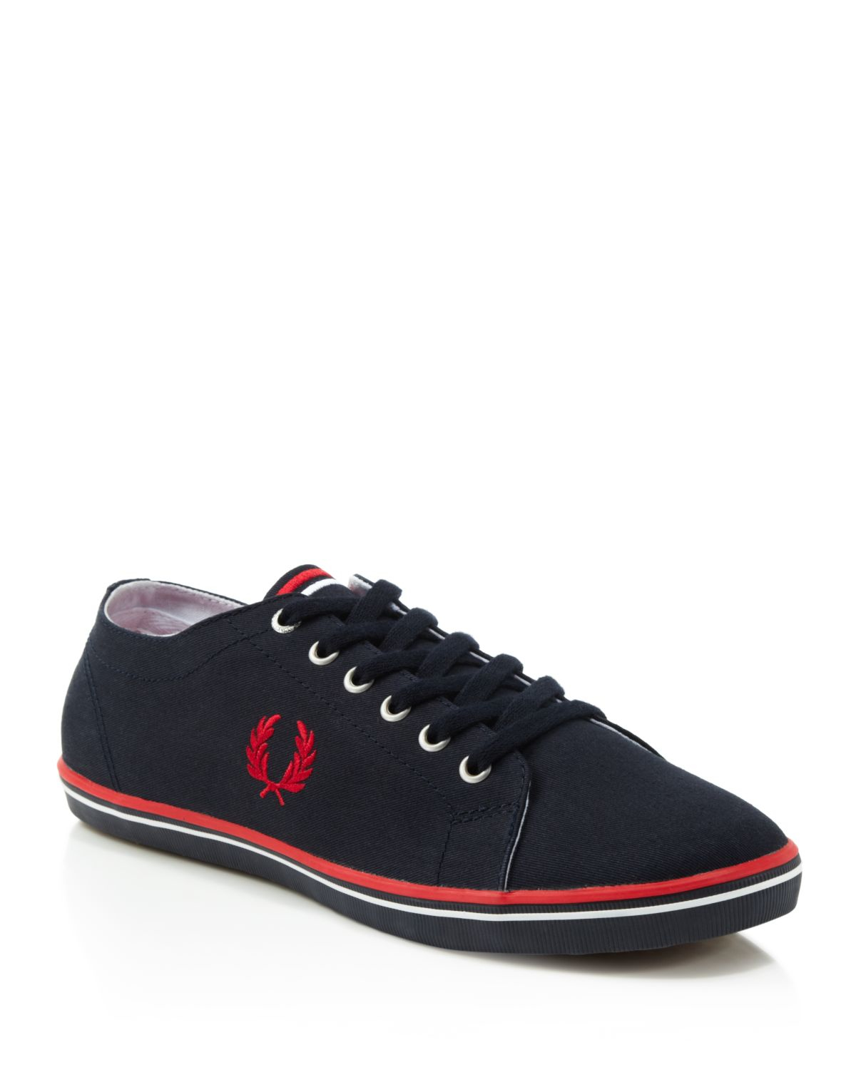 fred perry kingston twill sneakers in red for men navy. Black Bedroom Furniture Sets. Home Design Ideas