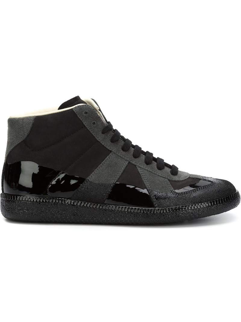 maison margiela 39 replica 39 hi top sneakers in black for men lyst. Black Bedroom Furniture Sets. Home Design Ideas