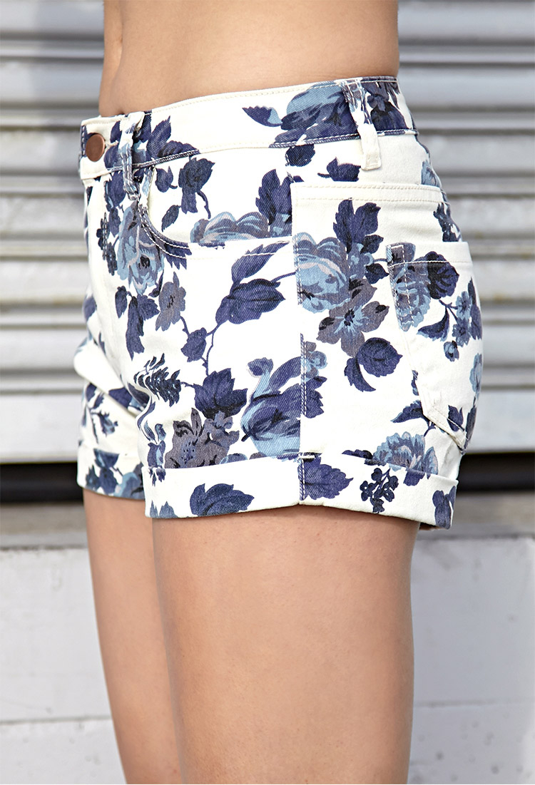 Forever 21 Favorite Floral Denim Shorts in Blue | Lyst
