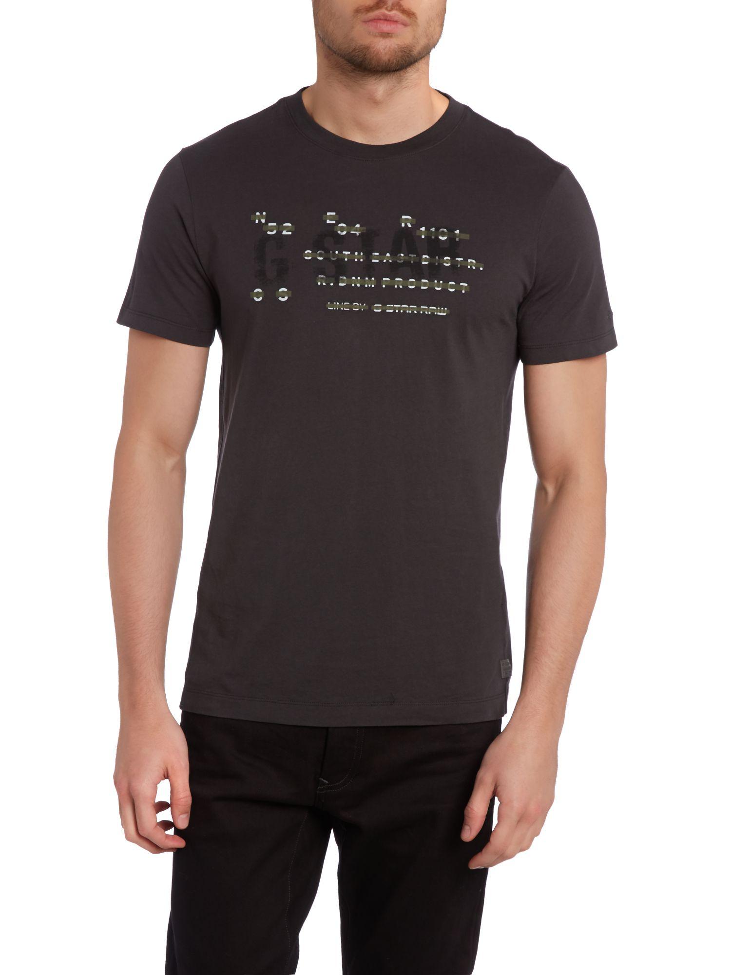 lyst g star raw number print logo t shirt in black for men. Black Bedroom Furniture Sets. Home Design Ideas