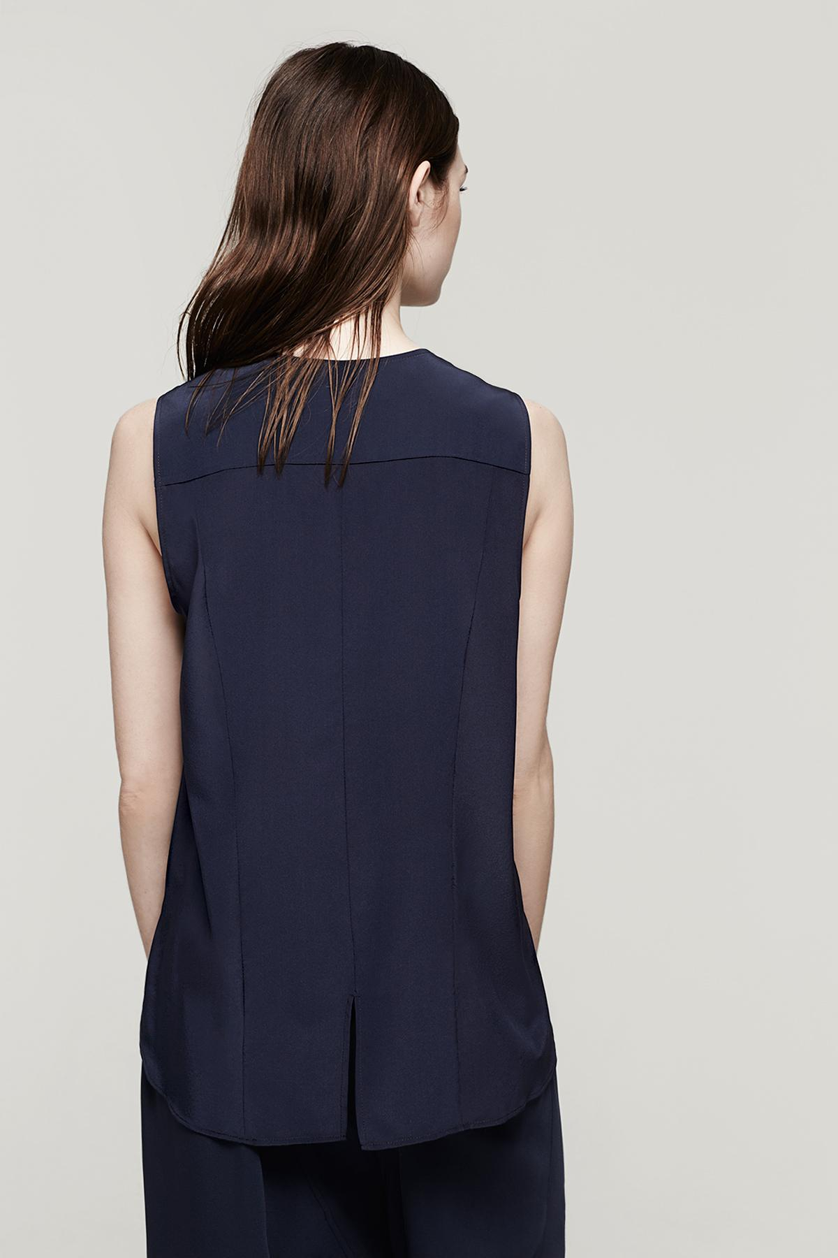 Lyst rag bone sleeveless tail shirt in blue for Rag bone shirt