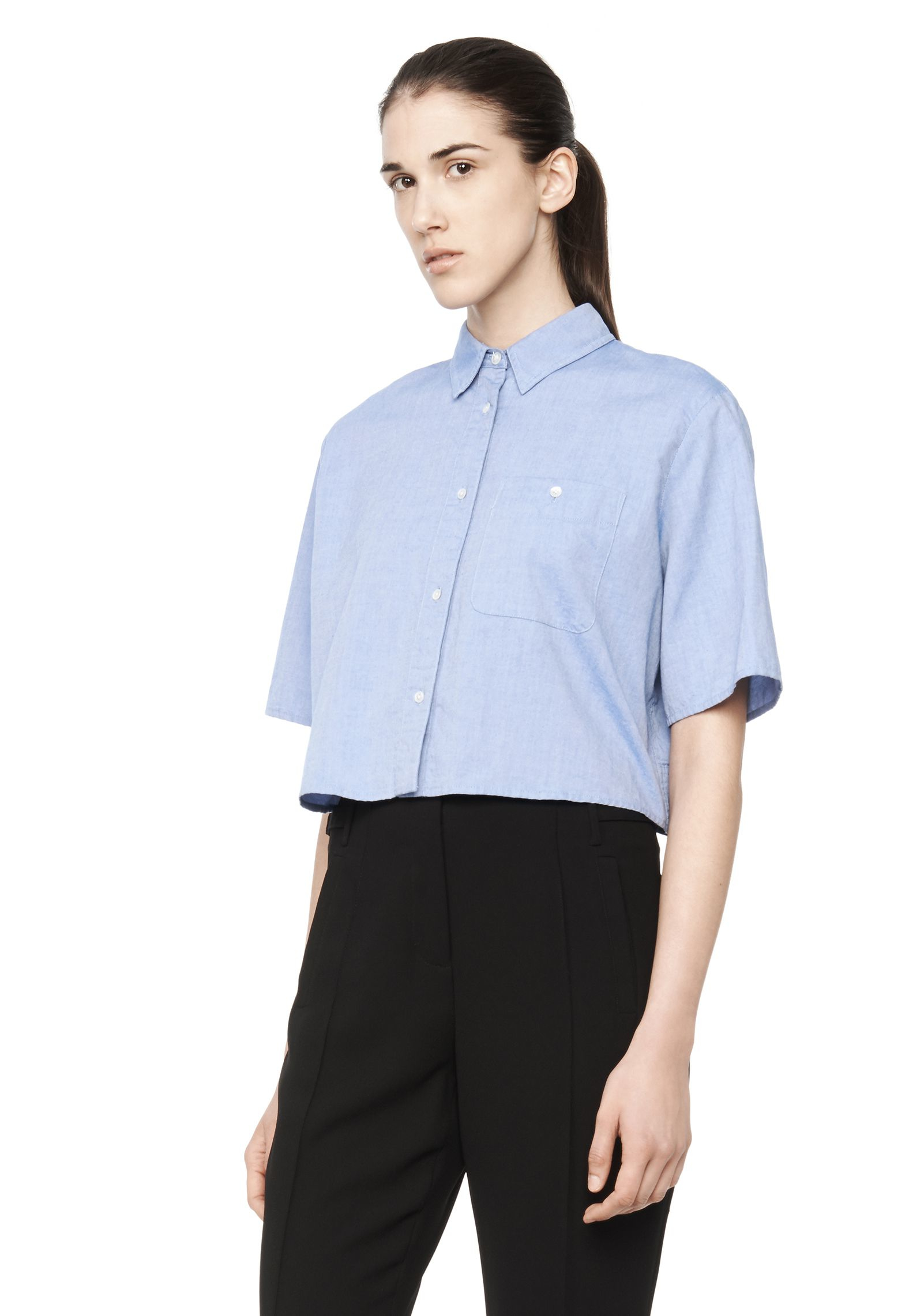 T by alexander wang Cropped Collared Oxford Shirt in Blue | Lyst