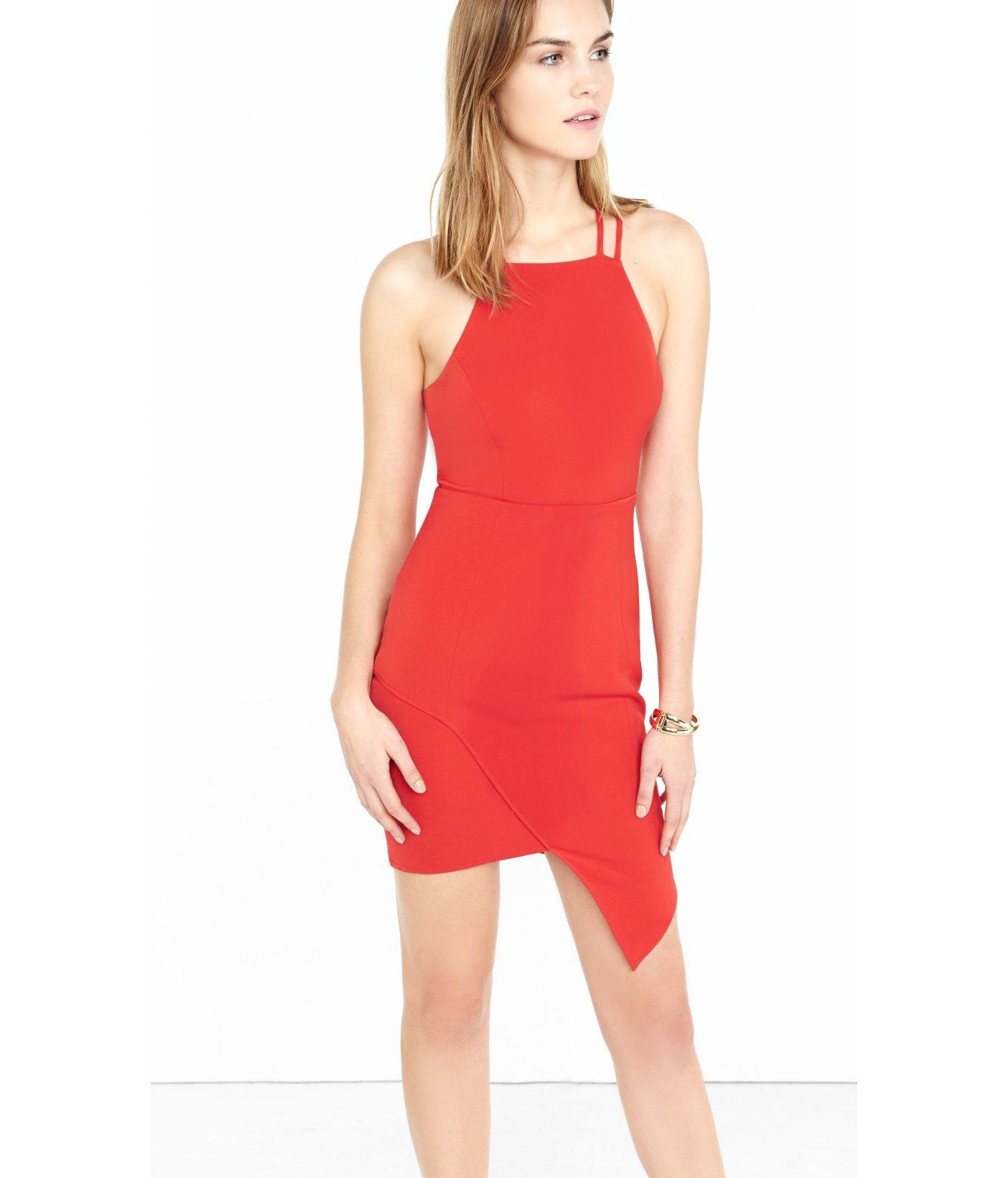 Express Red Strappy Asymmetrical Hem Sheath Dress in Red - Lyst