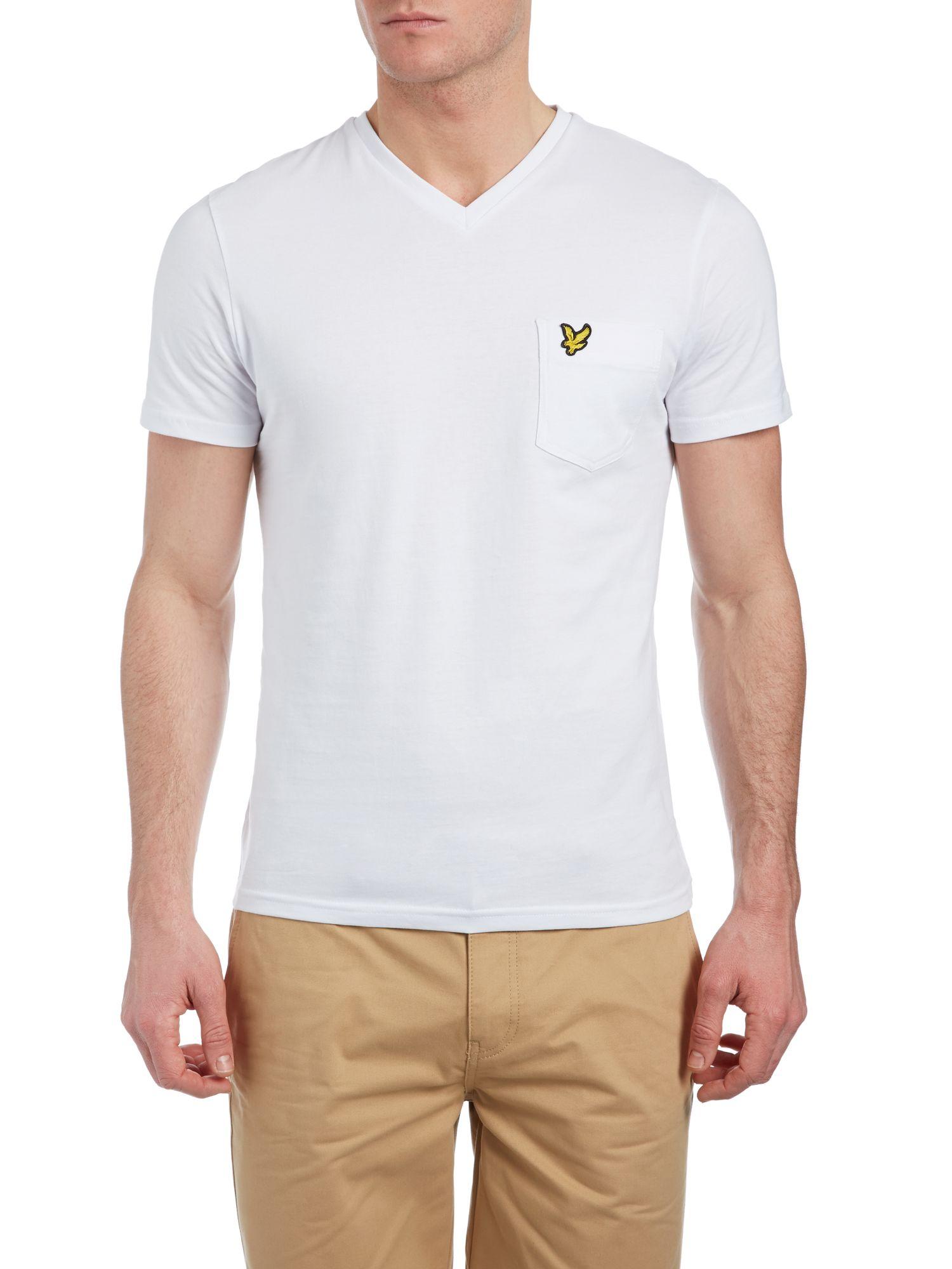 Lyle scott v neck pocket t shirt in white for men lyst for Men s v neck pocket tee shirts