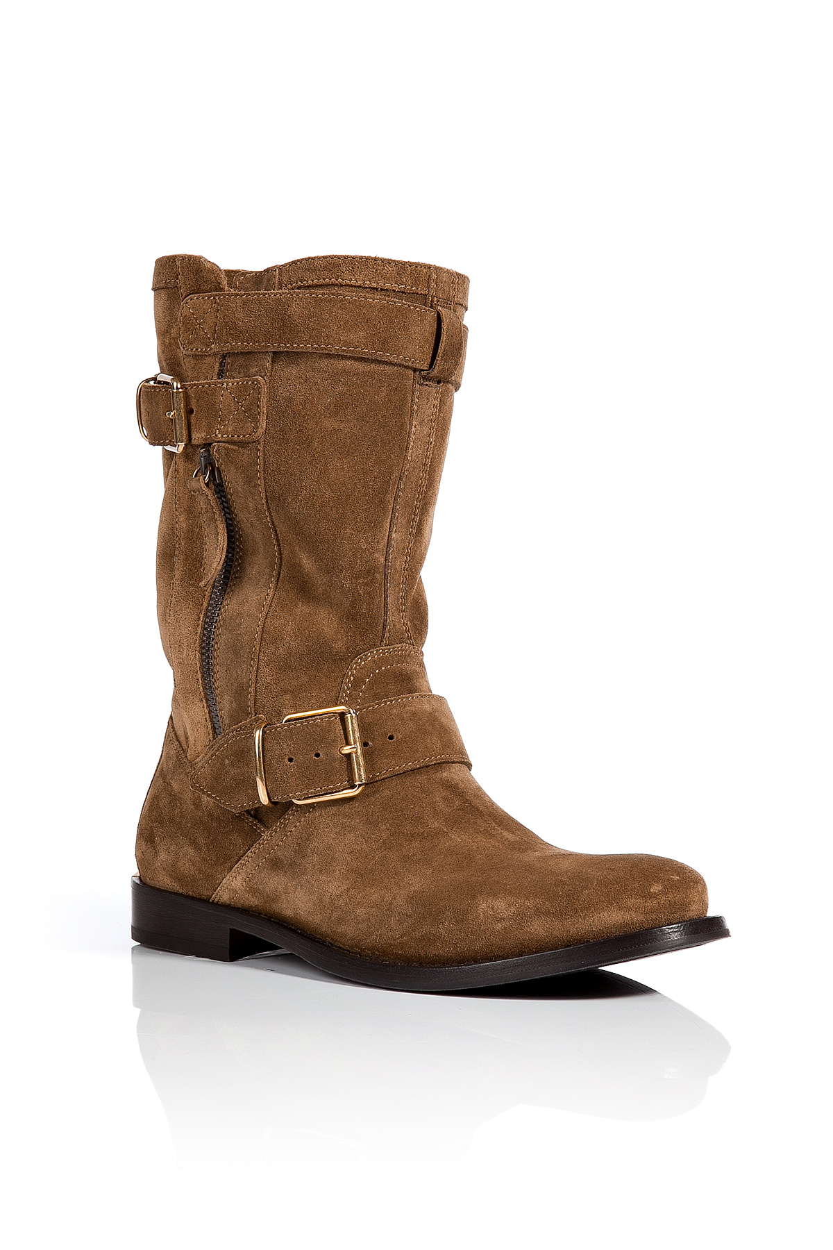 burberry suede buckle detailed grantville boots in brown