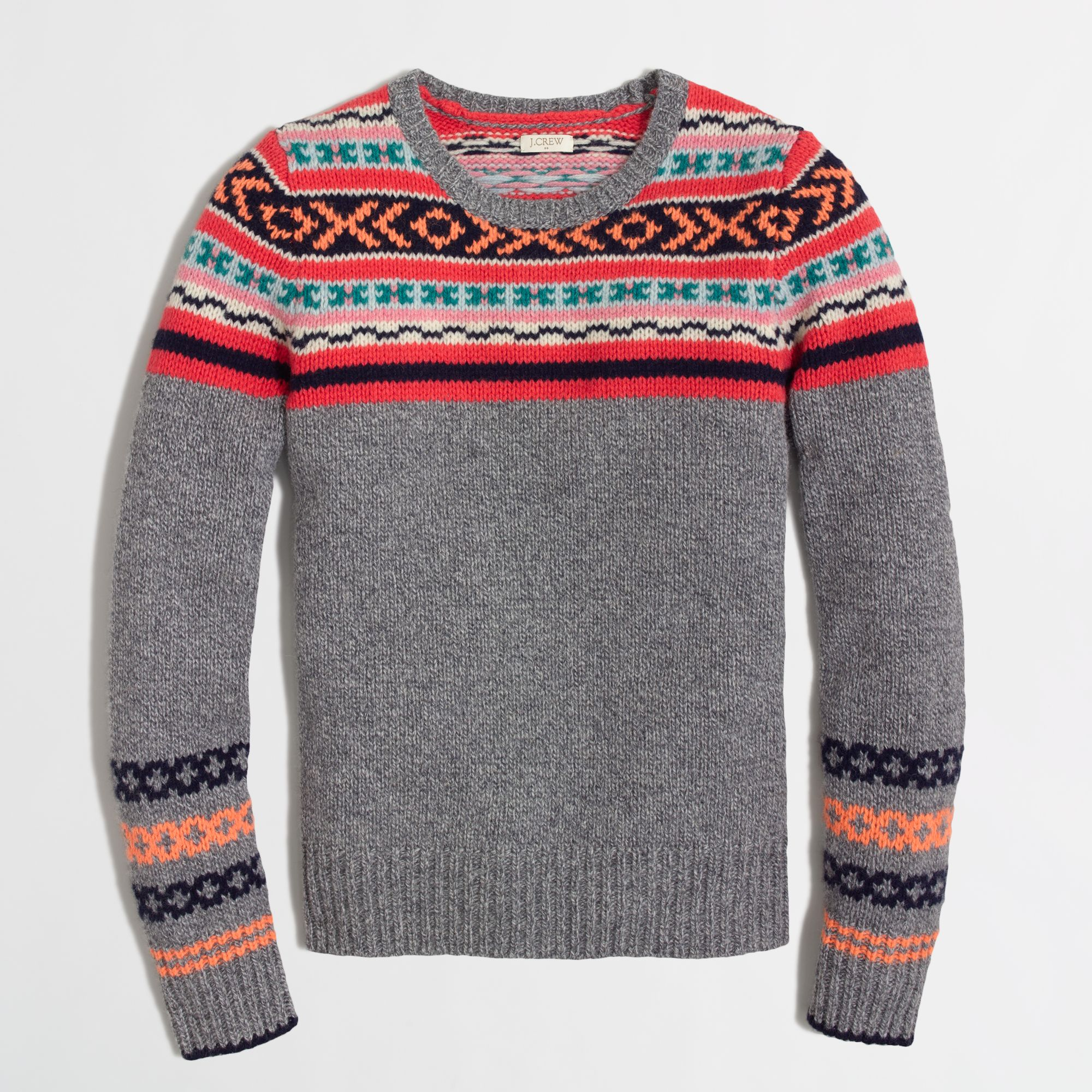 J.crew Factory Lambswool Neon Fair Isle Sweater in Gray | Lyst