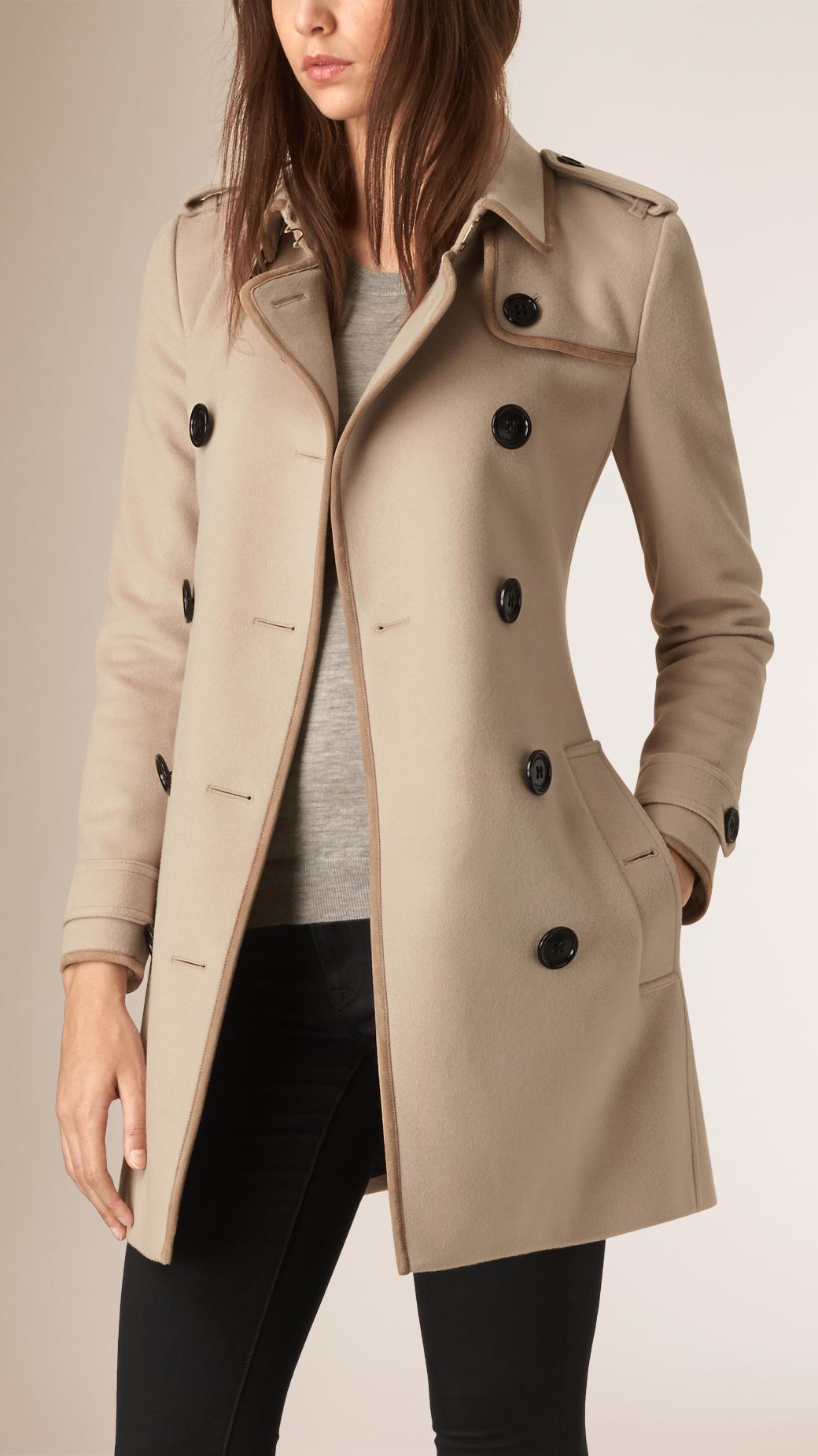 Burberry Leather Trim Wool Cashmere Trench Coat in Natural | Lyst