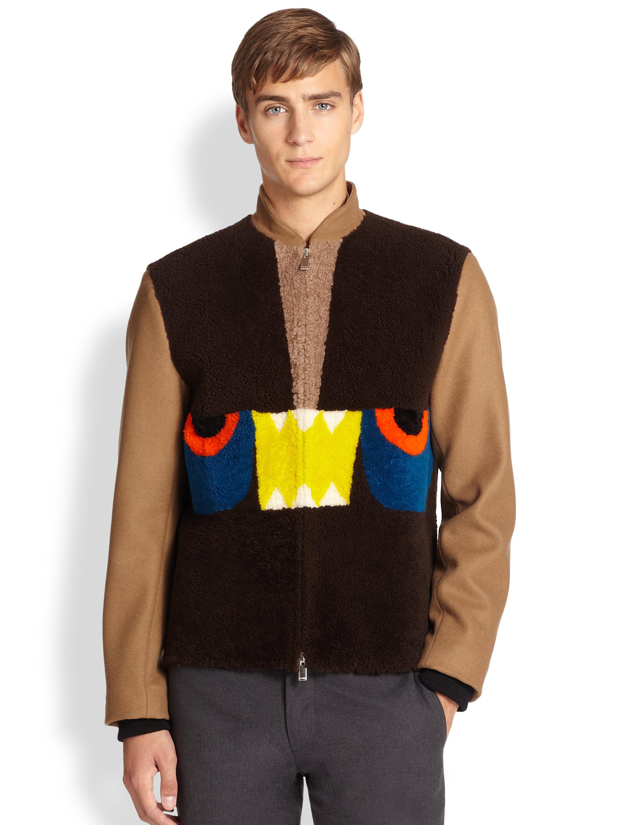 Fendi Shearling Mini Monster Jacket in Brown for Men