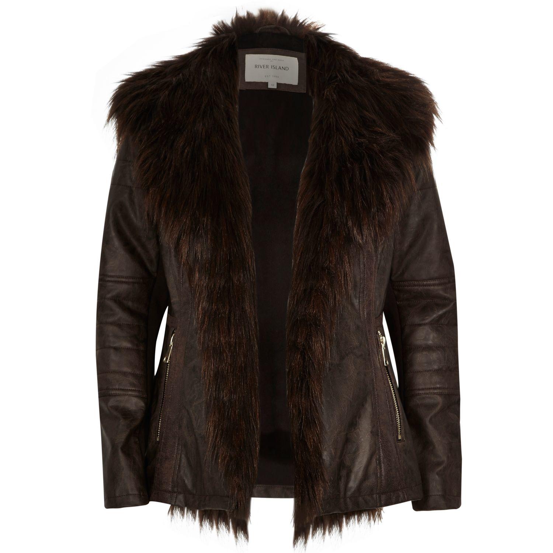 River island Dark Brown Leather-look Biker Jacket in Brown | Lyst