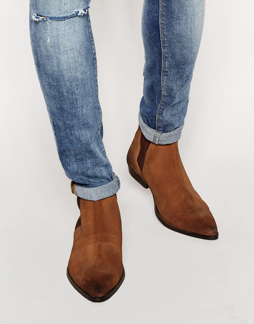 Lyst Asos Pointed Chelsea Boots In Brown Suede In Brown
