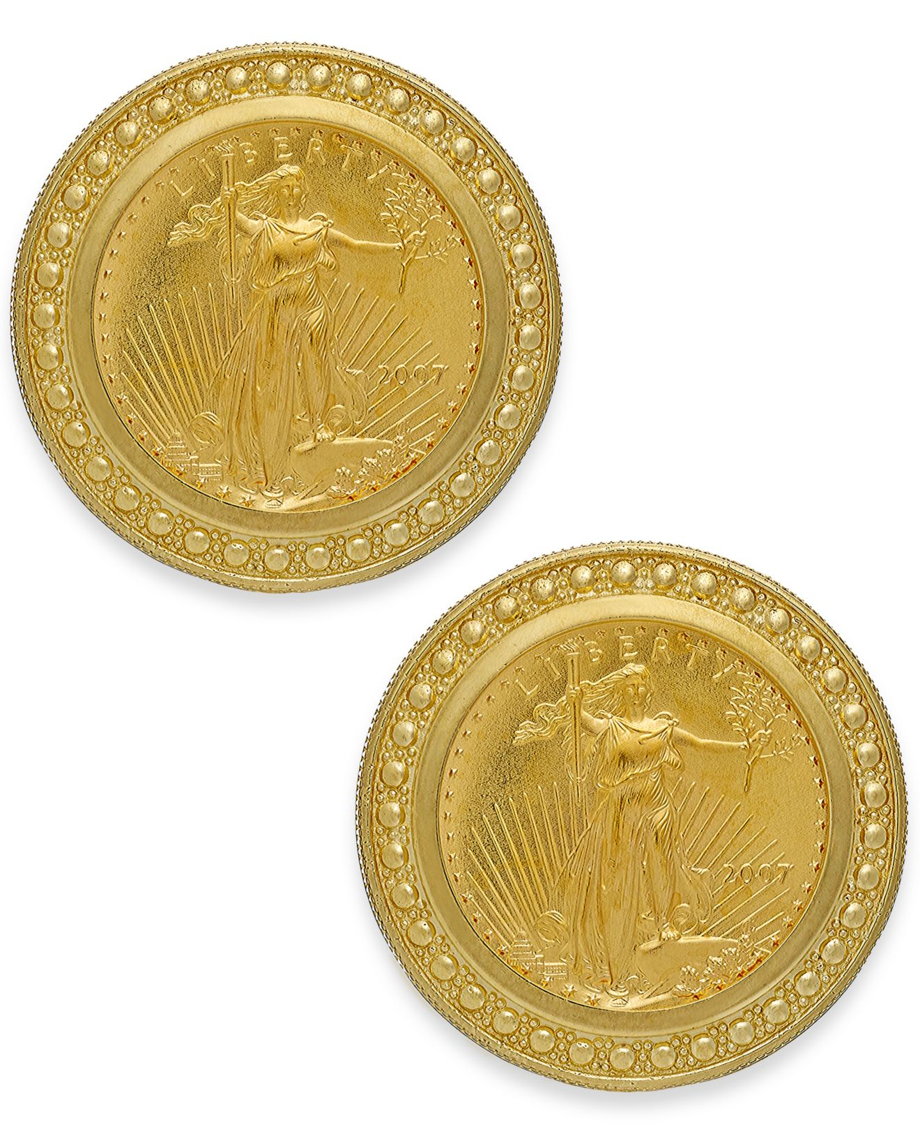 Macy S Genuine Us Eagle Coin Earrings In 22k And 14k Gold