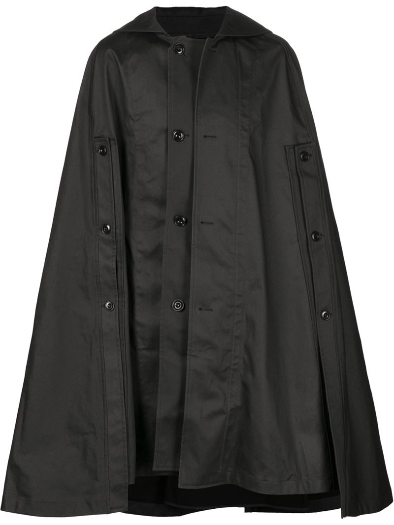 lemaire cape coat in black for men lyst