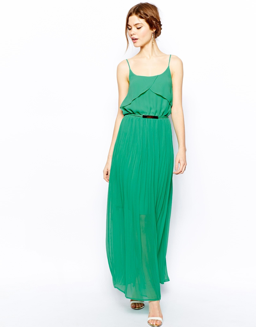 f5180a61275f Oasis Pleated Maxi Dress in Green - Lyst