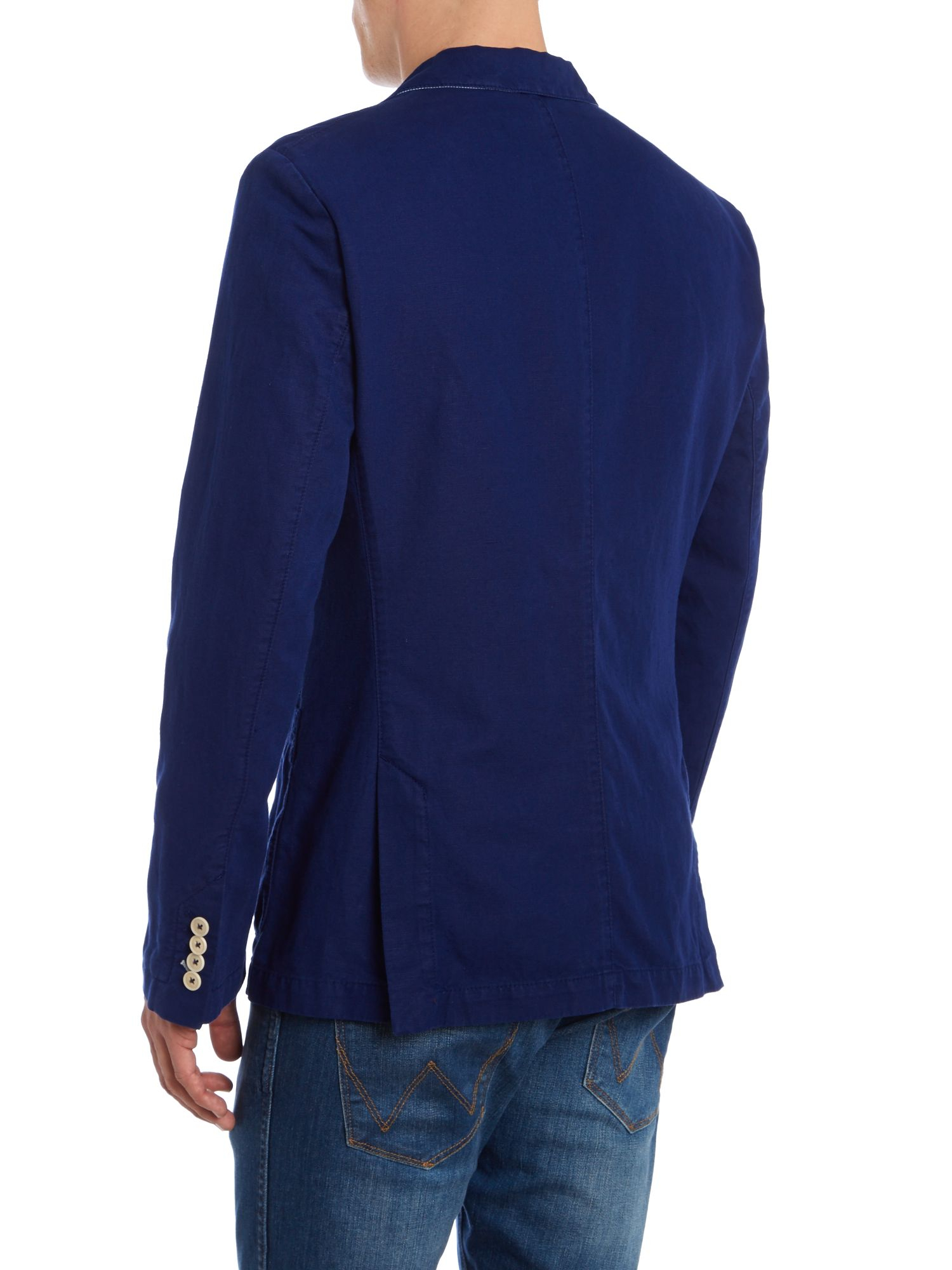 lyst boss neel d linen cotton blend blazer in blue for men. Black Bedroom Furniture Sets. Home Design Ideas