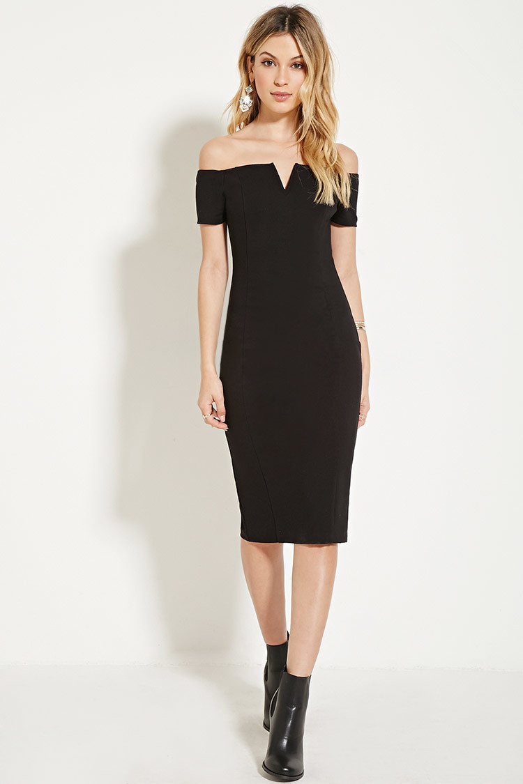 Lyst - Forever 21 Off-the-shoulder Bodycon Dress in Black