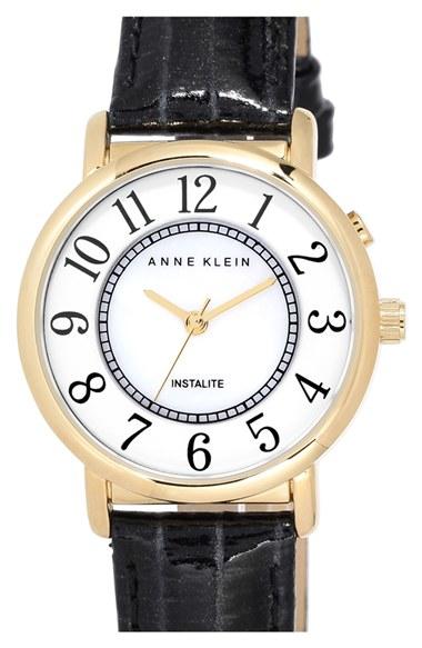 Lyst anne klein instalite leather strap watch in black for Anne klein leather strap