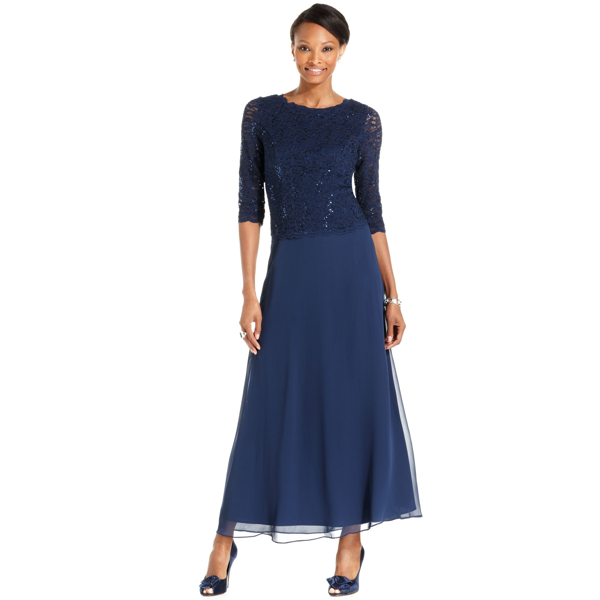 Macys Navy Blue Dresses: Alex Evenings Petite Elbow-sleeve Sequin Lace Gown In Blue