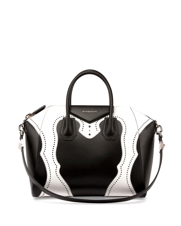 b812449b0181 Lyst - Givenchy Small Antigona Brogue Leather Bag in White