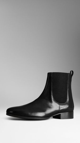 burberry buffalo leather chelsea boots in black for men lyst. Black Bedroom Furniture Sets. Home Design Ideas