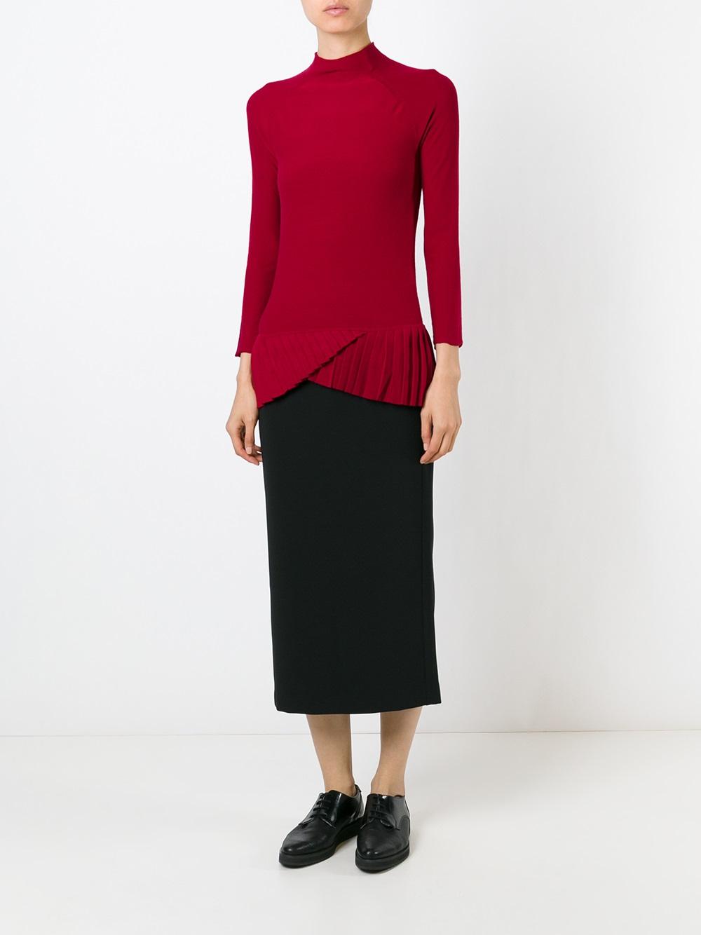 Emporio armani Midi Straight Skirt in Black | Lyst
