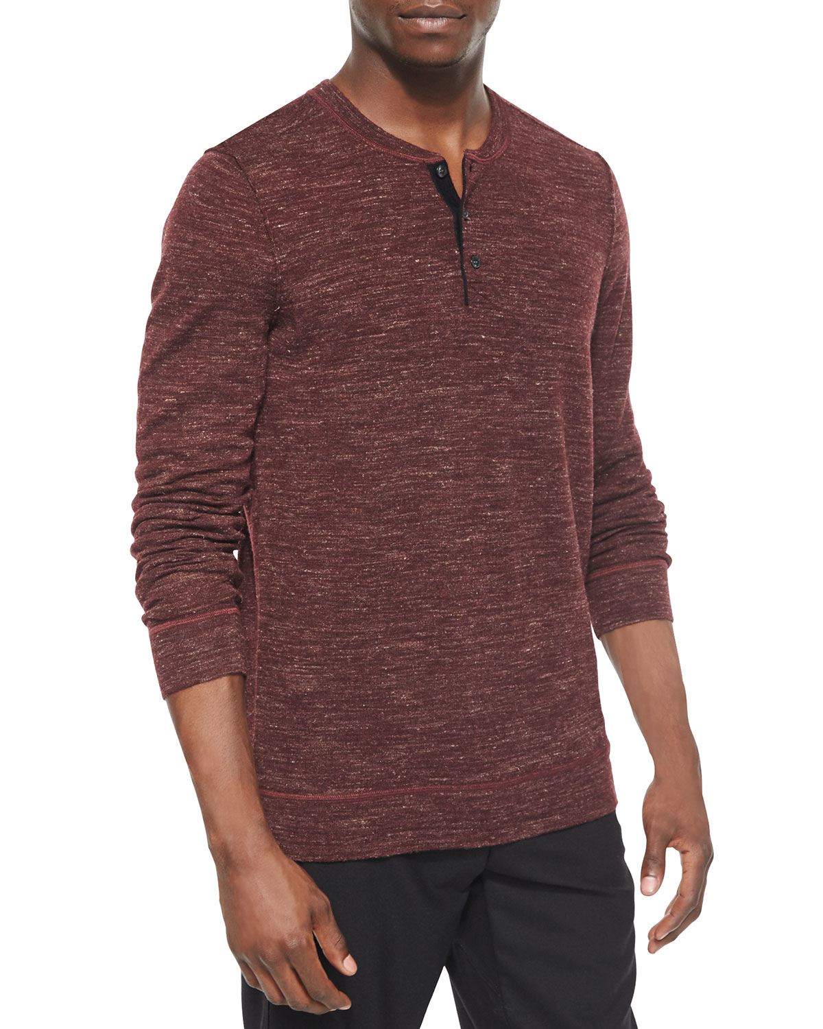 Lyst vince wool blend long sleeve henley tee in red for men for Vince tee shirts sale