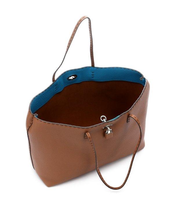 9d83458e8fa1 ... best price fendi khaki leather selleria tote bag in brown lyst bfc79  baf6e