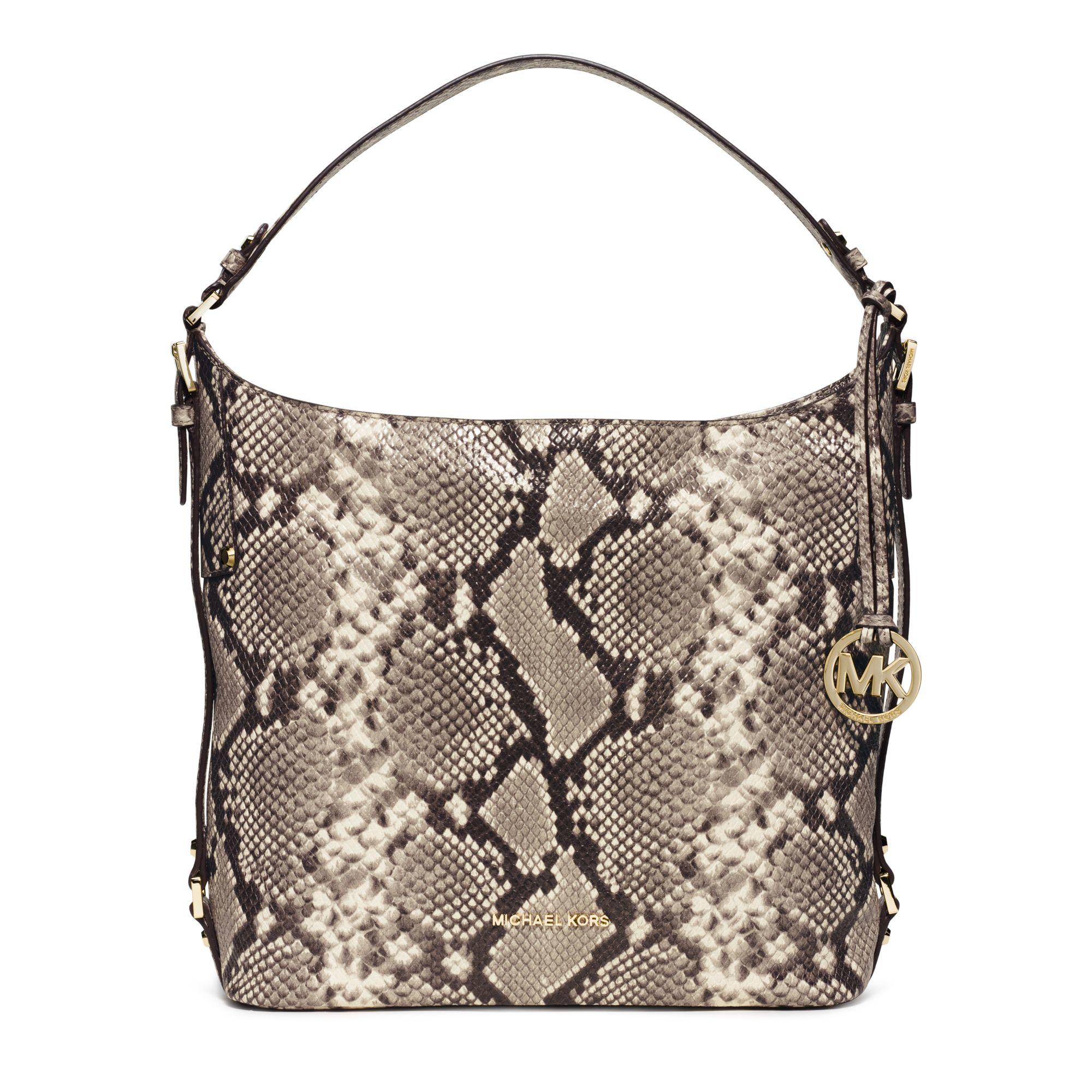 fe281a9f695e Lyst - Michael Kors Bedford Large Embossed-leather Shoulder Bag in ...