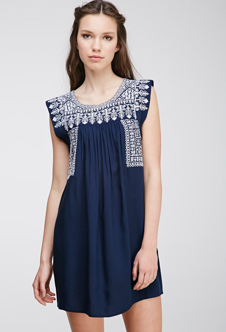Lyst Forever 21 Embroidered Peasant Dress In Blue