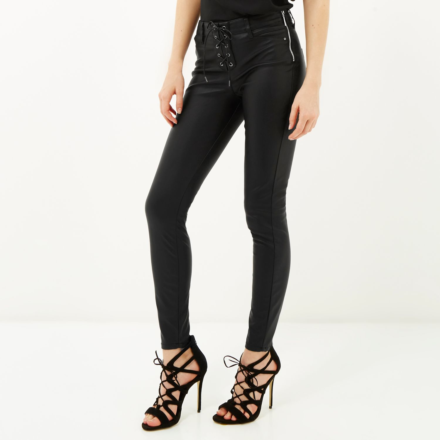 a5628438475f2 River Island Black Lace-up Leather-look Trousers in Black - Lyst