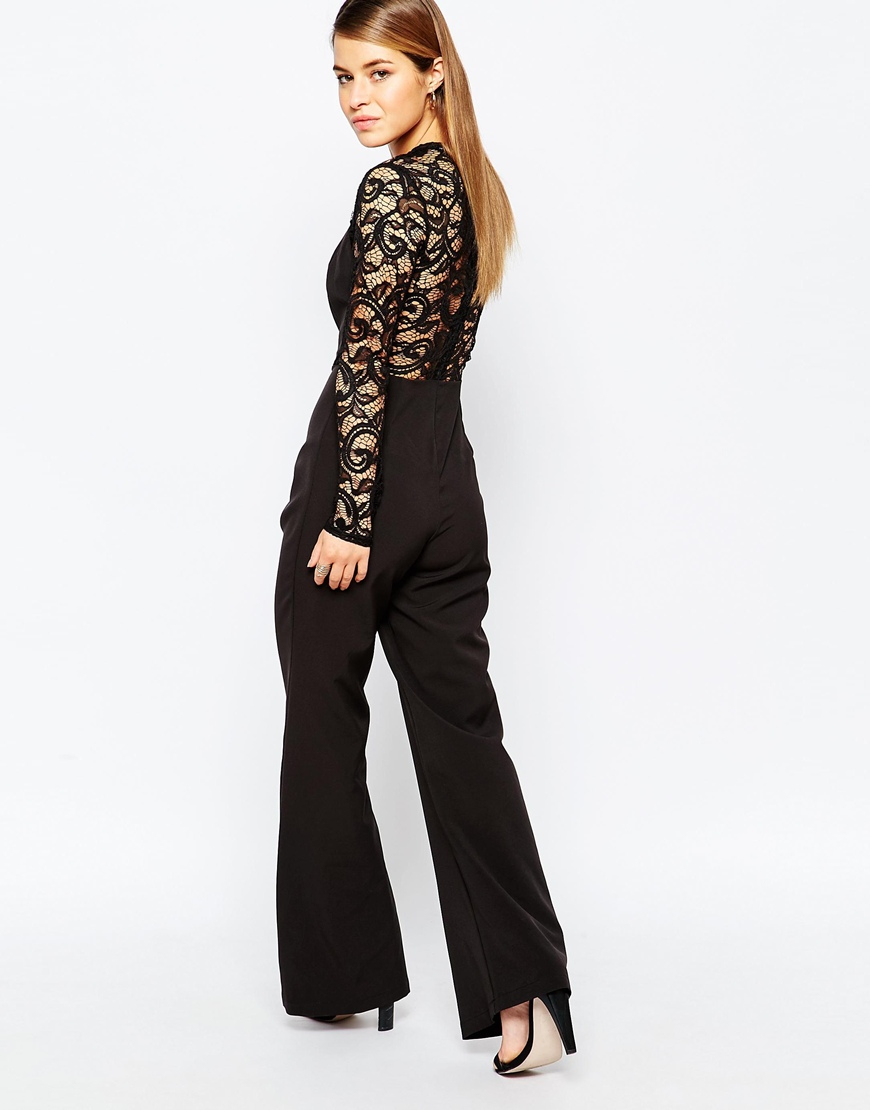 b75c6da002c Lyst - John Zack Lace Sleeve And Back Detail Jumpsuit - Black in Black