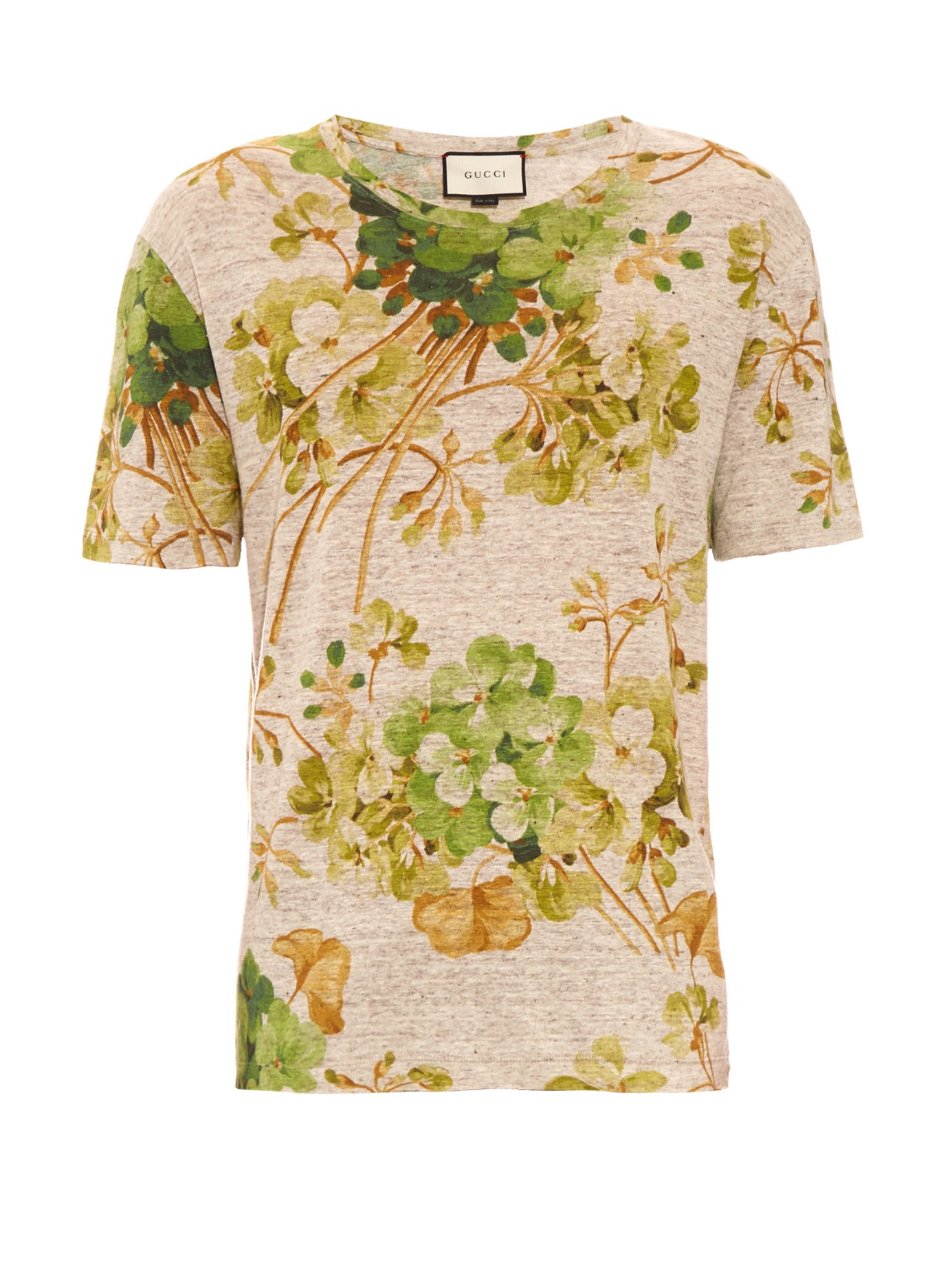 cf0b307fb3c74 Gucci Geranium-print Linen-jersey T-shirt in Orange for Men - Lyst
